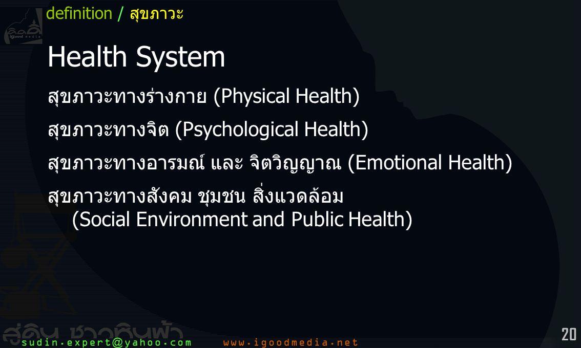 20 Health System สุขภาวะทางร่างกาย (Physical Health) สุขภาวะทางจิต (Psychological Health) สุขภาวะทางอารมณ์ และ จิตวิญญาณ (Emotional Health) สุขภาวะทางสังคม ชุมชน สิ่งแวดล้อม (Social Environment and Public Health) definition / สุขภาวะ
