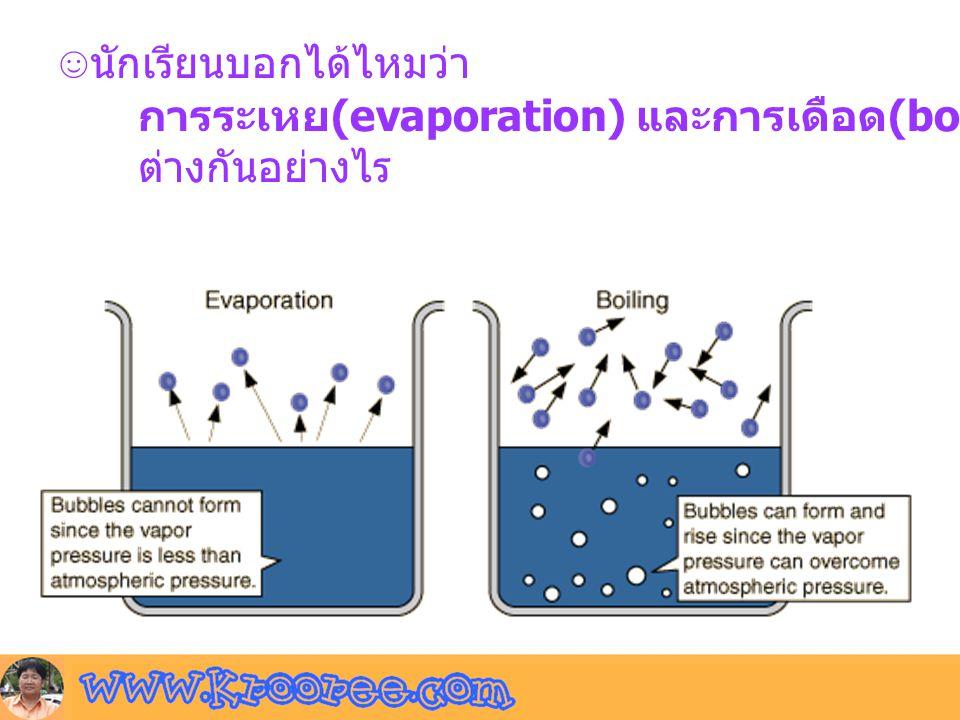 ☺นักเรียนบอกได้ไหมว่า การระเหย (evaporation) และการเดือด (boiling) ของของเหลว ต่างกันอย่างไร