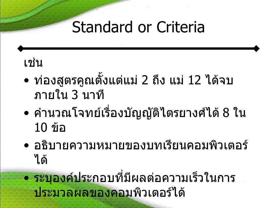 Standard or Criteria เช่น •ท่องสูตรคูณตั้งแต่แม่ 2 ถึง แม่ 12 ได้จบ ภายใน 3 นาที •คำนวณโจทย์เรื่องบัญญัติไตรยางศ์ได้ 8 ใน 10 ข้อ •อธิบายความหมายของบทเรียนคอมพิวเตอร์ ได้ •ระบุองค์ประกอบที่มีผลต่อความเร็วในการ ประมวลผลของคอมพิวเตอร์ได้