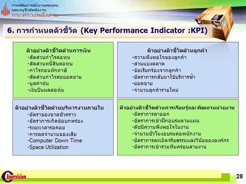 LOGO www.themegallery.com 28 6. การกำหนดตัวชี้วัด (Key Performance Indicator :KPI) ตัวอย่างตัวชี้วัดด้านการเงิน -สัดส่วนกำไรต่อทุน -สัดส่วนหนี้สินต่อท