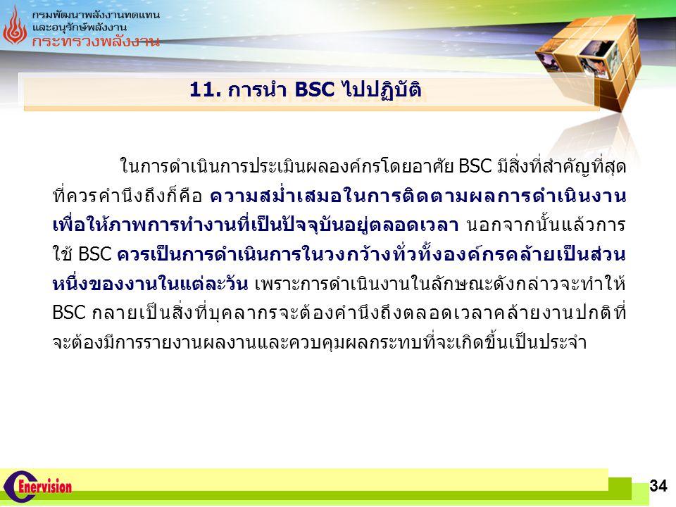 LOGO www.themegallery.com 34 11. การนำ BSC ไปปฏิบัติ ในการดำเนินการประเมินผลองค์กรโดยอาศัย BSC มีสิ่งที่สำคัญที่สุด ที่ควรคำนึงถึงก็คือ ความสม่ำเสมอใน