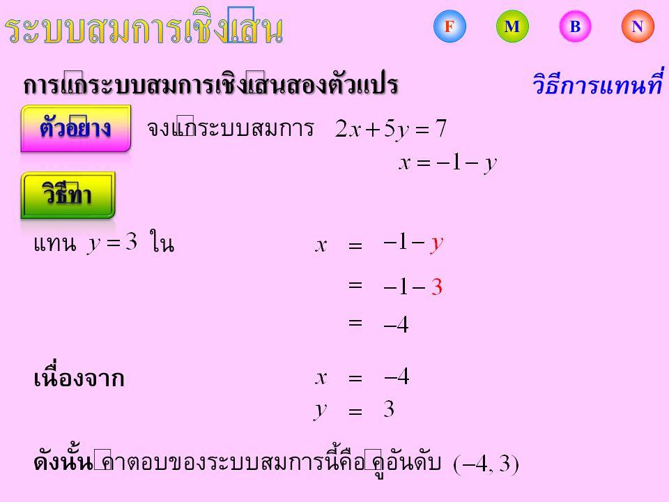การแก้ระบบสมการเชิงเส้นสองตัวแปร จงแก้ระบบสมการ วิธีการแทนที่ แทน ใน ดังนั้น คำตอบของระบบสมการนี้คือ คู่อันดับ เนื่องจาก