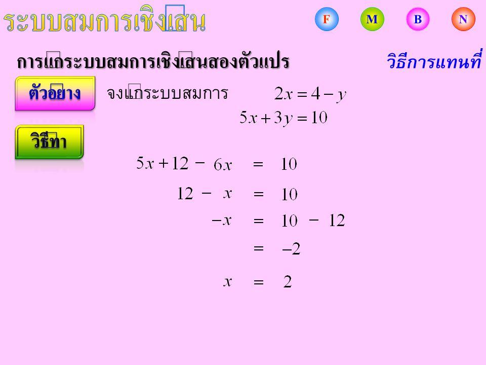 การแก้ระบบสมการเชิงเส้นสองตัวแปร จงแก้ระบบสมการ วิธีการแทนที่