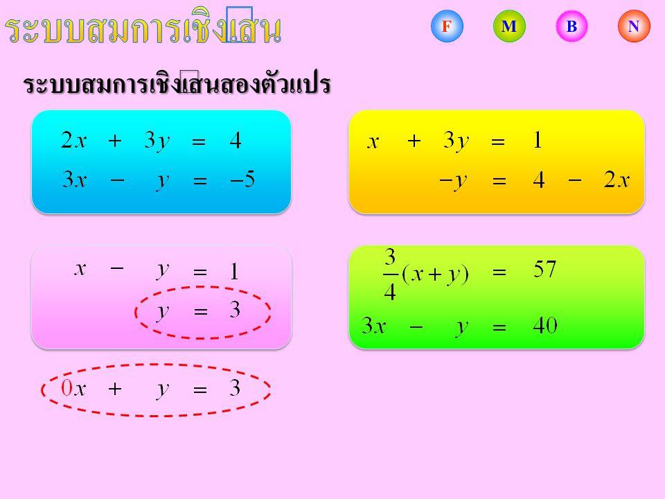 การแก้ระบบสมการเชิงเส้นสองตัวแปร จงแก้ระบบสมการ แทน ใน ดังนั้น คำตอบของระบบสมการนี้คือ คู่อันดับ วิธีการกำจัดตัวแปร