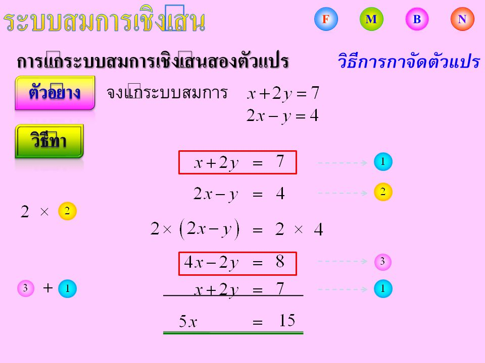 การแก้ระบบสมการเชิงเส้นสองตัวแปร จงแก้ระบบสมการ วิธีการกำจัดตัวแปร