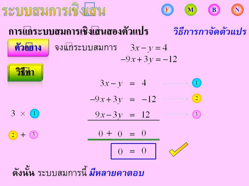 การแก้ระบบสมการเชิงเส้นสองตัวแปร จงแก้ระบบสมการ ดังนั้น ระบบสมการนี้ มีหลายคำตอบ วิธีการกำจัดตัวแปร