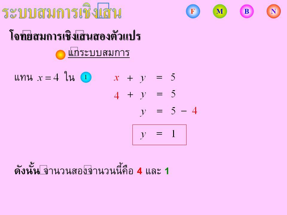 โจทย์สมการเชิงเส้นสองตัวแปร แทน ใน ดังนั้น จำนวนสองจำนวนนี้คือ 4 และ 1