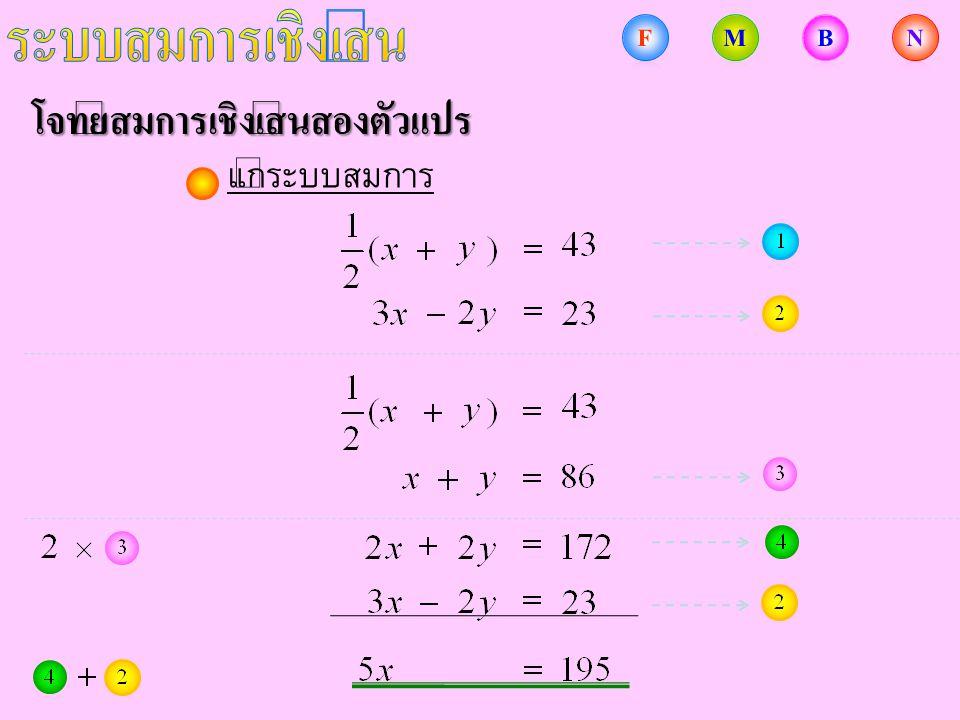 โจทย์สมการเชิงเส้นสองตัวแปร แก้ระบบสมการ