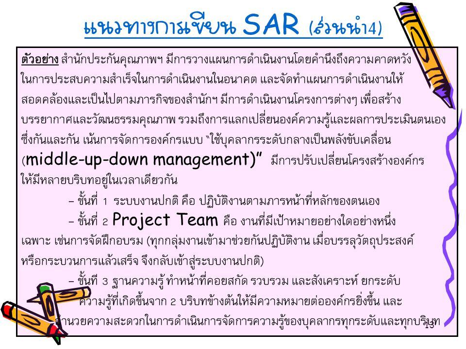 13 แนวทางการเขียน SAR ( ส่วนนำ 4) ตัวอย่าง สำนักประกันคุณภาพฯ มีการวางแผนการดำเนินงานโดยคำนึงถึงความคาดหวัง ในการประสบความสำเร็จในการดำเนินงานในอนาคต