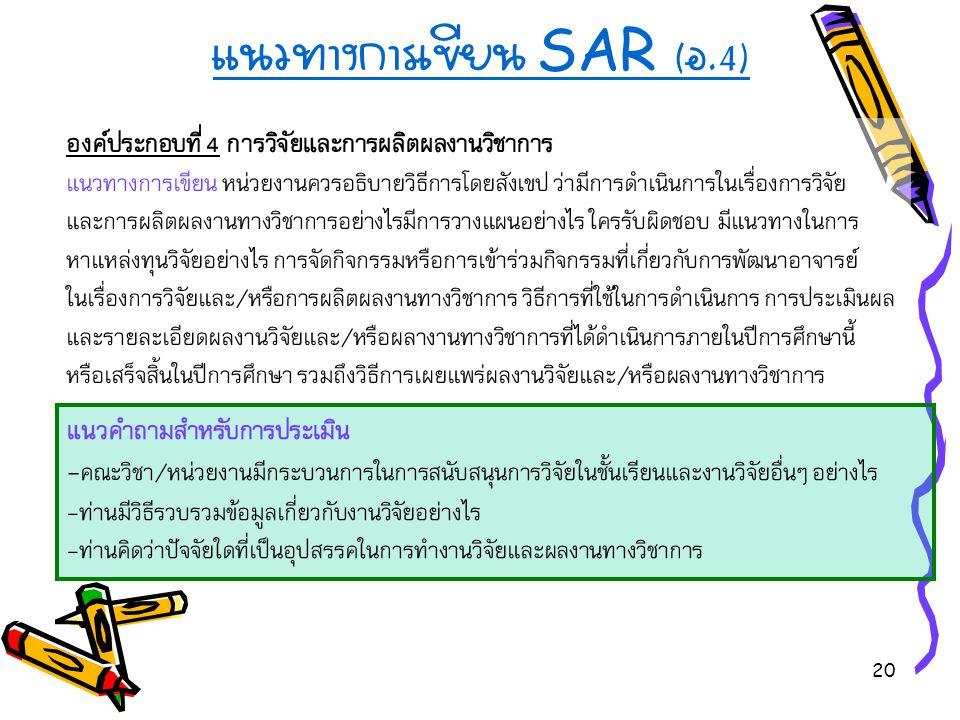20 แนวทางการเขียน SAR ( อ.4) องค์ประกอบที่ 4 การวิจัยและการผลิตผลงานวิชาการ แนวทางการเขียน หน่วยงานควรอธิบายวิธีการโดยสังเขป ว่ามีการดำเนินการในเรื่อง