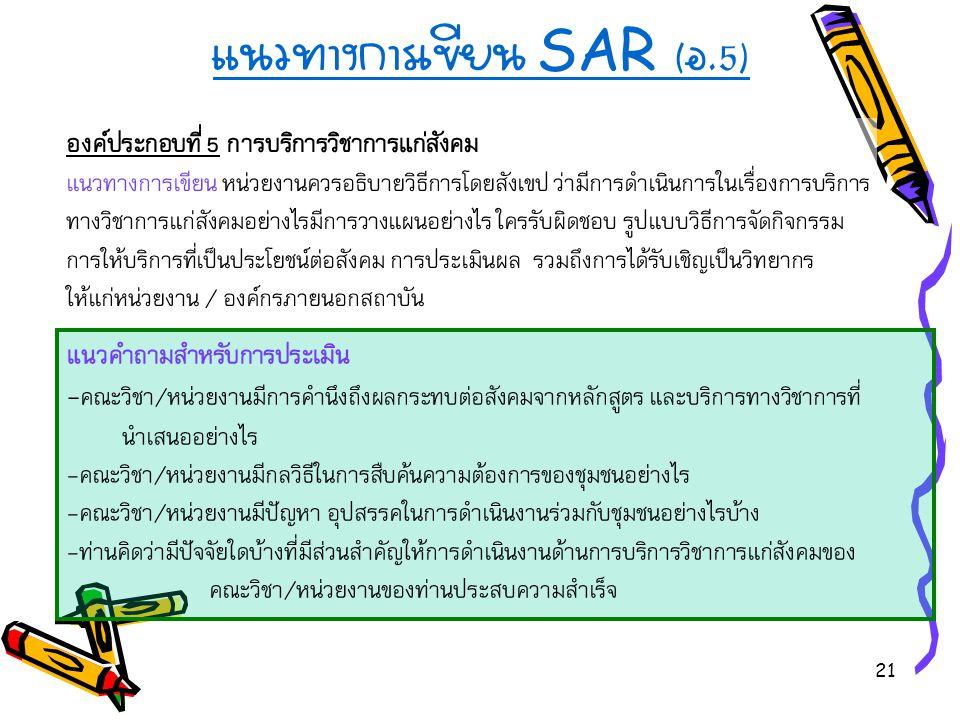 21 แนวทางการเขียน SAR ( อ.5) องค์ประกอบที่ 5 การบริการวิชาการแก่สังคม แนวทางการเขียน หน่วยงานควรอธิบายวิธีการโดยสังเขป ว่ามีการดำเนินการในเรื่องการบริการ ทางวิชาการแก่สังคมอย่างไรมีการวางแผนอย่างไร ใครรับผิดชอบ รูปแบบวิธีการจัดกิจกรรม การให้บริการที่เป็นประโยชน์ต่อสังคม การประเมินผล รวมถึงการได้รับเชิญเป็นวิทยากร ให้แก่หน่วยงาน / องค์กรภายนอกสถาบัน แนวคำถามสำหรับการประเมิน - คณะวิชา/หน่วยงานมีการคำนึงถึงผลกระทบต่อสังคมจากหลักสูตร และบริการทางวิชาการที่ นำเสนออย่างไร -คณะวิชา/หน่วยงานมีกลวิธีในการสืบค้นความต้องการของชุมชนอย่างไร -คณะวิชา/หน่วยงานมีปัญหา อุปสรรคในการดำเนินงานร่วมกับชุมชนอย่างไรบ้าง -ท่านคิดว่ามีปัจจัยใดบ้างที่มีส่วนสำคัญให้การดำเนินงานด้านการบริการวิชาการแก่สังคมของ คณะวิชา/หน่วยงานของท่านประสบความสำเร็จ