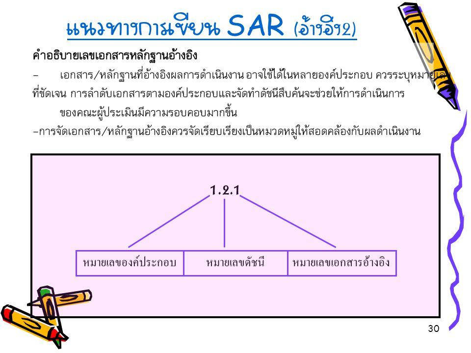 30 แนวทางการเขียน SAR ( อ้างอิง 2) คำอธิบายเลขเอกสารหลักฐานอ้างอิง - เอกสาร/หลักฐานที่อ้างอิงผลการดำเนินงาน อาจใช้ได้ในหลายองค์ประกอบ ควรระบุหมายเลข ที่ชัดเจน การลำดับเอกสารตามองค์ประกอบและจัดทำดัชนีสืบค้นจะช่วยให้การดำเนินการ ของคณะผู้ประเมินมีความรอบคอบมากขึ้น -การจัดเอกสาร/หลักฐานอ้างอิงควรจัดเรียบเรียงเป็นหมวดหมู่ให้สอดคล้องกับผลดำเนินงาน 1.2.1 หมายเลขดัชนีหมายเลขเอกสารอ้างอิงหมายเลของค์ประกอบ