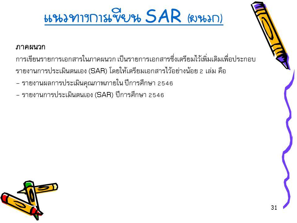 31 แนวทางการเขียน SAR ( ผนวก ) ภาคผนวก การเขียนรายการเอกสารในภาคผนวก เป็นรายการเอกสารซึ่งเตรียมไว้เพิ่มเติมเพื่อประกอบ รายงานการประเมินตนเอง (SAR) โดยให้เตรียมเอกสารไว้อย่างน้อย 2 เล่ม คือ - รายงานผลการประเมินคุณภาพภายใน ปีการศึกษา 2546 - รายงานการประเมินตนเอง (SAR) ปีการศึกษา 2546