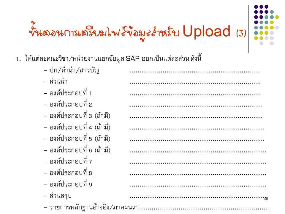 40 ขั้นตอนการเตรียมไฟล์ข้อมูลสำหรับ Upload (3) 1. ให้แต่ละคณะวิชา/หน่วยงานแยกข้อมูล SAR ออกเป็นแต่ละส่วน ดังนี้ - ปก/คำนำ/สารบัญ......................