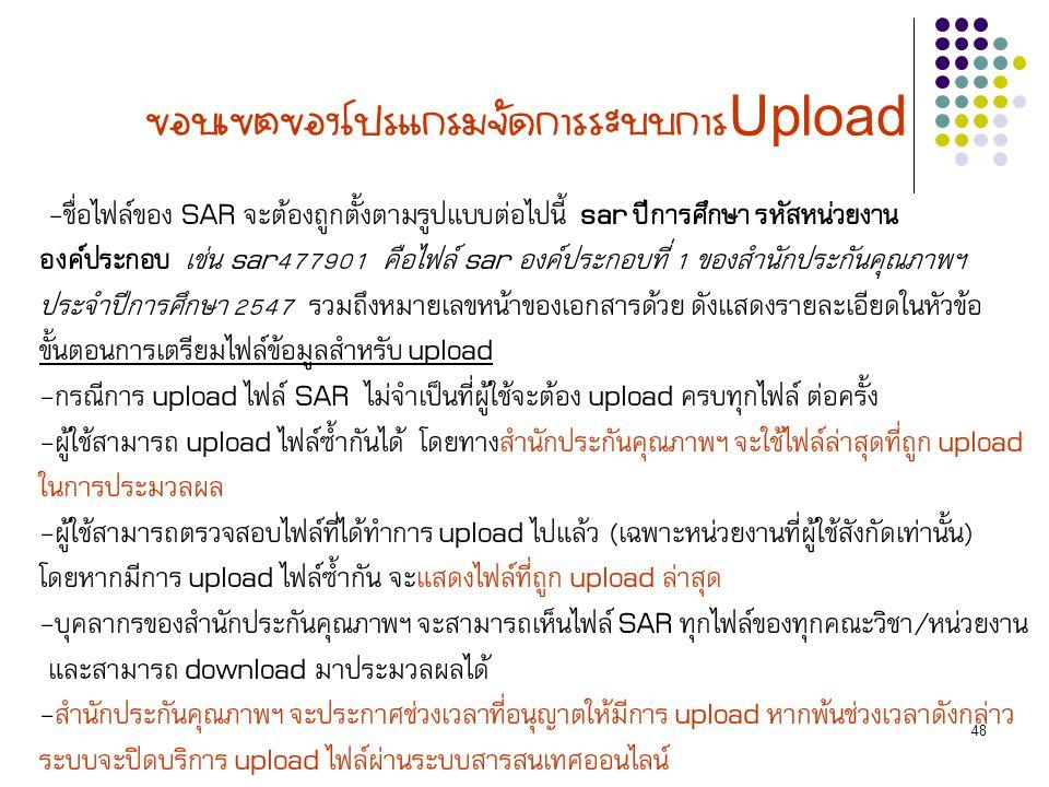 48 ขอบเขตของโปรแกรมจัดการระบบการ Upload -ชื่อไฟล์ของ SAR จะต้องถูกตั้งตามรูปแบบต่อไปนี้ sar ปีการศึกษา รหัสหน่วยงาน องค์ประกอบ เช่น sar477901 คือไฟล์