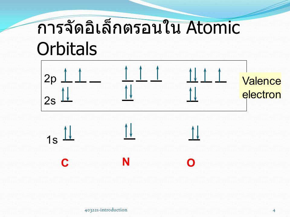 403221-introduction4 การจัดอิเล็กตรอนใน Atomic Orbitals 1s 2p 2s C N O Valence electron