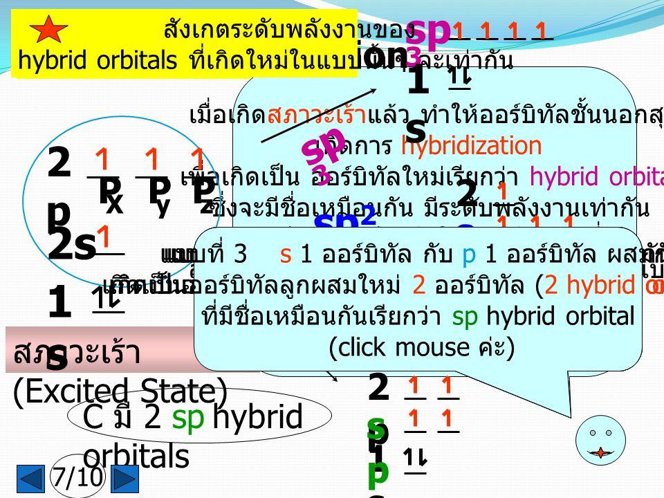 C มี 3 sp 2 hybrid orbitals เมื่อเกิดสภาวะเร้าแล้ว ทำให้ออร์บิทัลชั้นนอกสุด เกิดการ hybridization เพื่อเกิดเป็น ออร์บิทัลใหม่เรียกว่า hybrid orbitals ซึ่งจะมีชื่อเหมือนกัน มีระดับพลังงานเท่ากัน และมีการจัดเรียงตัวให้ไกลกันมากที่สุด สำหรับ C จะมีการเกิด hybridization ได้ 3 แบบ คือ sp 3 sp 2 และ sp hybrid orbitals ดังนี้ค่ะ (click mouse) เกิดการ Hybridization C มี 2 sp hybrid orbitals sp 3 1s1s แบบที่ 1 s 1 ออร์บิทัล กับ p 3 ออร์บิทัล ผสมกัน เกิดเป็นออร์บิทัลลูกผสมใหม่ 4 ออร์บิทัล (4 hybride orbitals) ที่มีชื่อเหมือนกันเรียกว่า sp 3 hybrid orbital (click mouse ค่ะ ) sp 2 1s1s 2p2p sp2sp2 sp 1s1s 2p2p spsp สังเกตระดับพลังงานของ hybrid orbitals ที่เกิดใหม่ในแบบนั้นๆ จะเท่ากัน แบบที่ 2 s 1 ออร์บิทัล กับ p 2 ออร์บิทัล ผสมกัน เกิดเป็นออร์บิทัลลูกผสมใหม่ 3 ออร์บิทัล (3 hybrid orbitals) ที่มีชื่อเหมือนกันเรียกว่า sp 2 hybrid orbital (click mouse ค่ะ ) แบบที่ 3 s 1 ออร์บิทัล กับ p 1 ออร์บิทัล ผสมกัน เกิดเป็นออร์บิทัลลูกผสมใหม่ 2 ออร์บิทัล (2 hybrid orbitals) ที่มีชื่อเหมือนกันเรียกว่า sp hybrid orbital (click mouse ค่ะ ) สภาวะเร้า (Excited State) 1s1s 2s 2p2p P X P y P z 7/10 แบบที่ 3 s 1 ออร์บิทัล กับ p 1 ออร์บิทัล ผสมกัน เกิดเป็นออร์บิทัลลูกผสมใหม่ 2 ออร์บิทัล (2 hybrid orbitals) ที่มีชื่อเหมือนกันเรียกว่า sp hybrid orbital (click mouse ค่ะ )