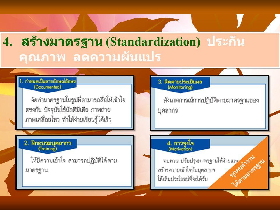4. สร้างมาตรฐาน (Standardization) ประกัน คุณภาพ ลดความผันแปร