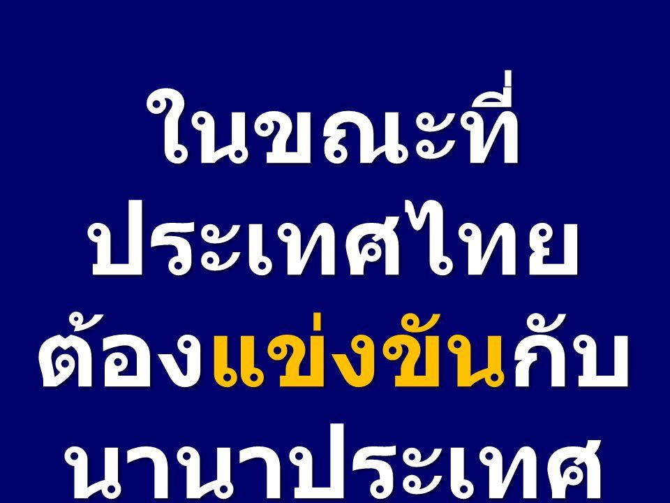 ในขณะที่ ประเทศไทย ต้องแข่งขันกับ นานาประเทศ ทั่วโลก