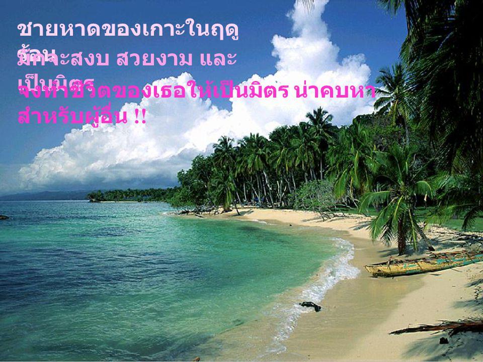 ชายหาดของเกาะในฤดู ร้อน มักจะสงบ สวยงาม และ เป็นมิตร จงทำชีวิตของเธอให้เป็นมิตร น่าคบหา สำหรับผู้อื่น !!