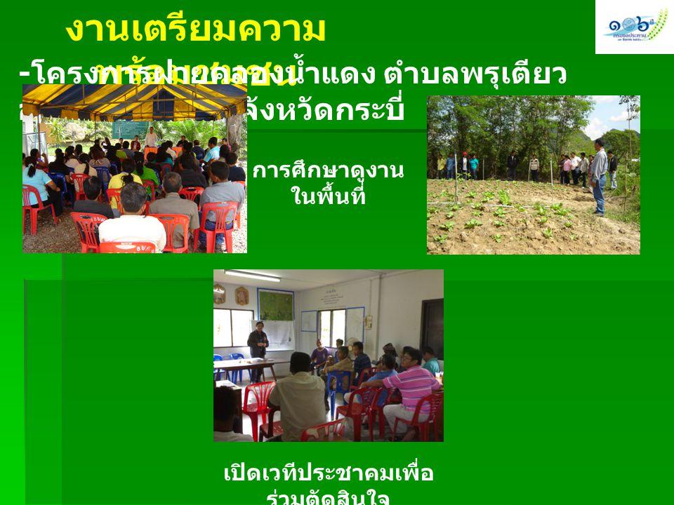 งานเตรียมความ พร้อมชุมชน - โครงการฝายคลองน้ำแดง ตำบลพรุเตียว อำเภอเขาพนม จังหวัดกระบี่ การศึกษาดูงาน ในพื้นที่ เปิดเวทีประชาคมเพื่อ ร่วมตัดสินใจ