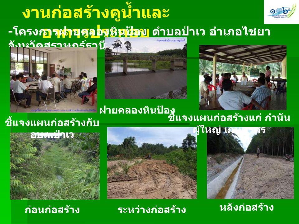 งานก่อสร้างคูน้ำและ อาคารประกอบ - โครงการฝายคลองหินป้อง ตำบลป่าเว อำเภอไชยา จังหวัดสุราษฎร์ธานี พื้นที่ 800 ไร่ ชี้แจงแผนก่อสร้างกับ อบต. ป่าเว ฝายคลอ