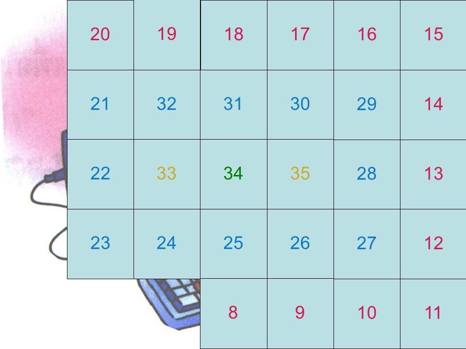 23 31 21 20 12 17 9 16 28 19 11 13 18 3 14 33 10 24 4 32 15 35 25 5 8 29 6 26 34 7 27 30 22