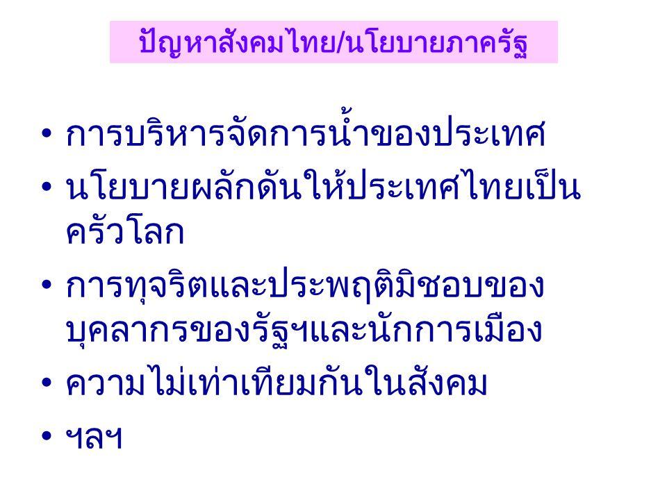 •ผู้สูงอายุ, ผู้ป่วยสิ้นหวัง, ผู้ป่วยระยะ สุดท้าย •การตั้งครรภ์ของวัยรุ่น •การพัฒนาระบบบริการสุขภาพ •นโยบายผลักดันให้ประเทศไทยเป็น ศูนย์กลางการแพทย์นา
