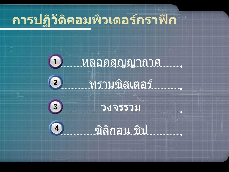 www.themegallery.com การปฏิวัติคอมพิวเตอร์กราฟิก ทรานซิสเตอร์ 2 ซิลิกอน ชิป 4 หลอดสุญญากาศ 31 วงจรรวม 33