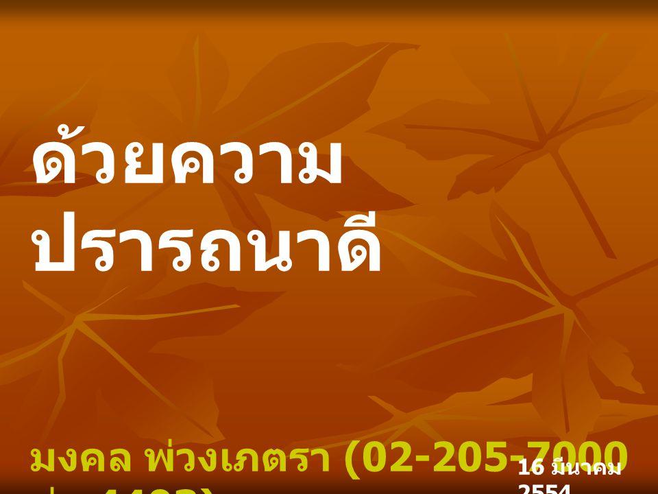 ด้วยความ ปรารถนาดี มงคล พ่วงเภตรา (02-205-7000 ต่อ 4403) mongkol.pu@countrygroup.co.th ฝ่ายวิเคราะห์หลักทรัพย์ 16 มีนาคม 2554