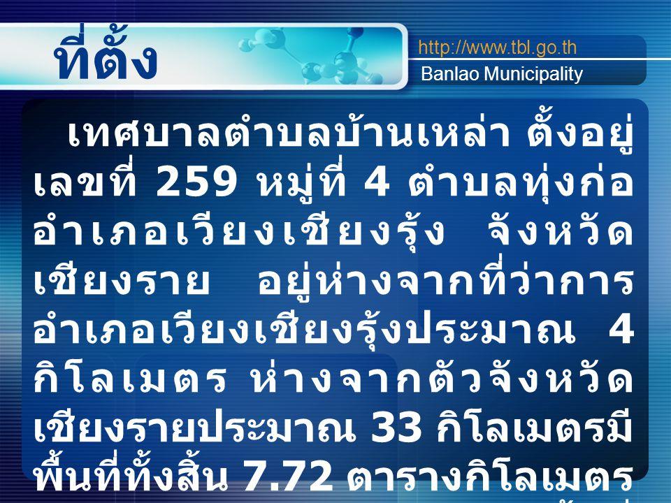 ที่ตั้ง http://www.tbl.go.th Banlao Municipality เทศบาลตำบลบ้านเหล่า ตั้งอยู่ เลขที่ 259 หมู่ที่ 4 ตำบลทุ่งก่อ อำเภอเวียงเชียงรุ้ง จังหวัด เชียงราย อย
