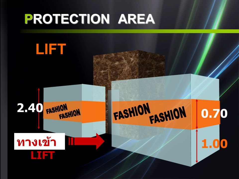 PROTECTION AREA 2.40 ทางเข้า LIFT 0.70 1.00 LIFT