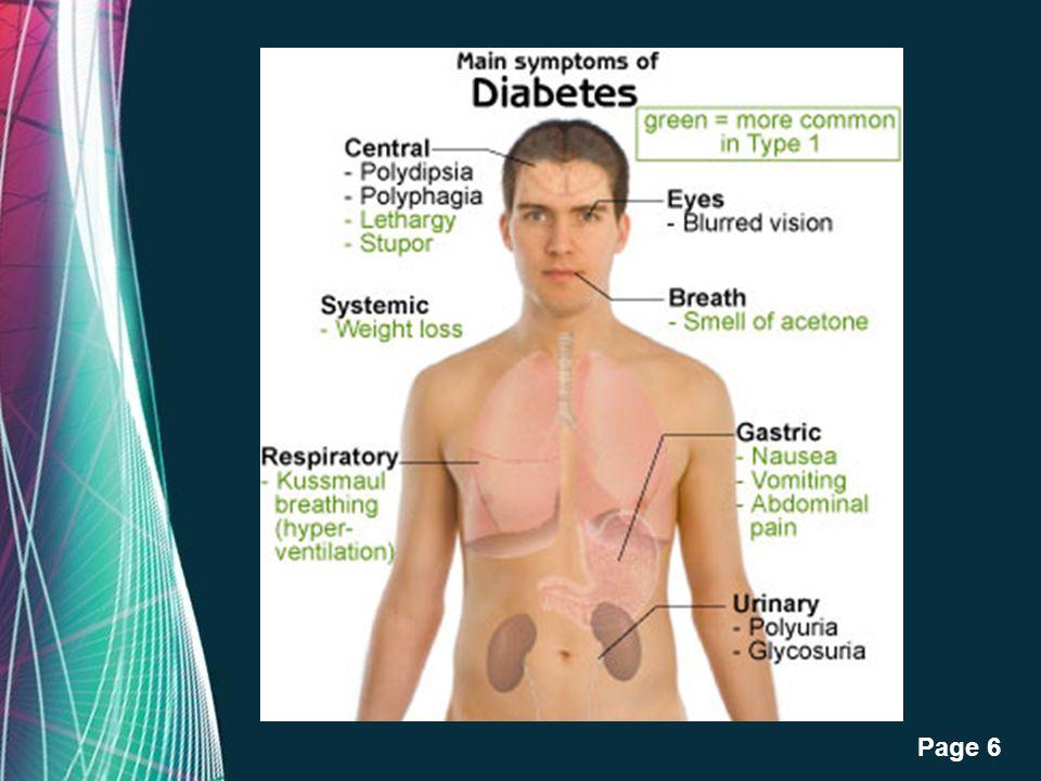 Free Powerpoint Templates Page 5 1.ปวดปัสสาวะบ่อยขึ้น เนื่องจากไตกรองน้ำตาลออกมามาก ปัสสาวะ จึงหวาน 2.กระหายน้ำ และดื่มน้ำในปริมาณมากๆต่อครั้ง 4.อ่อนเ