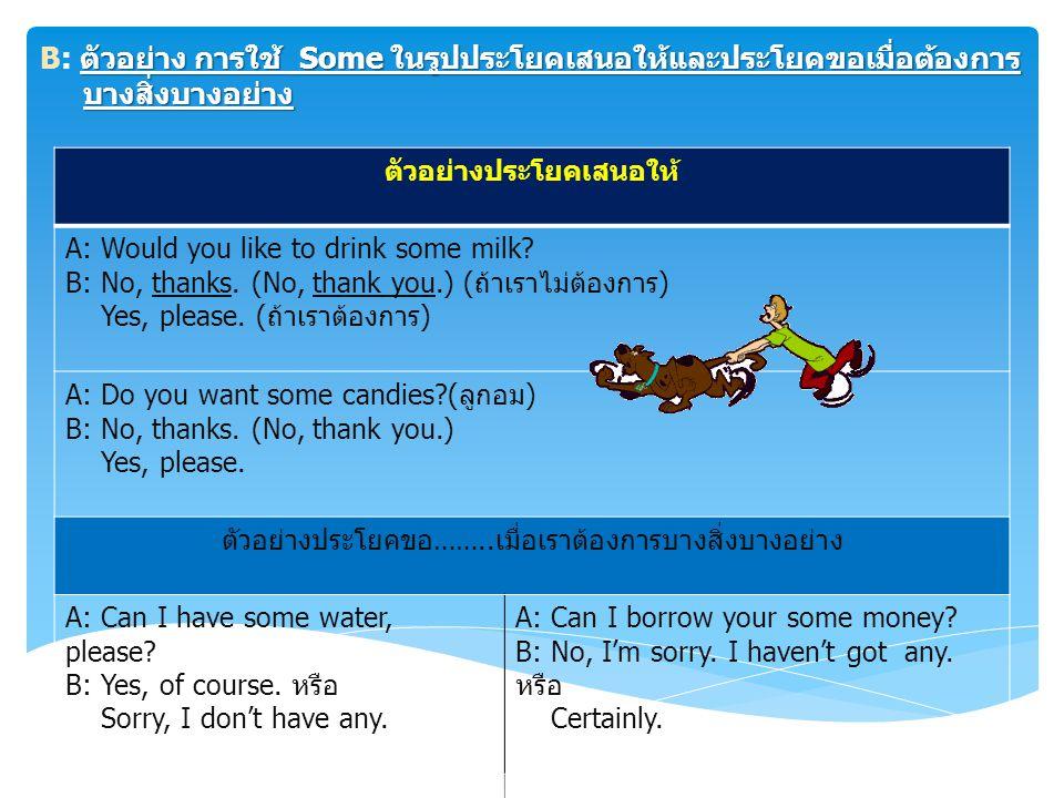 ตัวอย่าง การใช้ any ในรูปประโยคคำถามและประโยคปฏิเสธ การใช้ Any 2: Any มีความหมายเหมือนกับคำว่า Some มักจะใช้ในรูป ประโยคคำถาม และประโยคปฏิเสธ เช่น ตัวอย่าง การใช้ any ในรูปประโยคคำถามและประโยคปฏิเสธ ตัวอย่างประโยคปฏิเสธตัวอย่างประโยคคำถาม any milk We haven't got any milk in the box.
