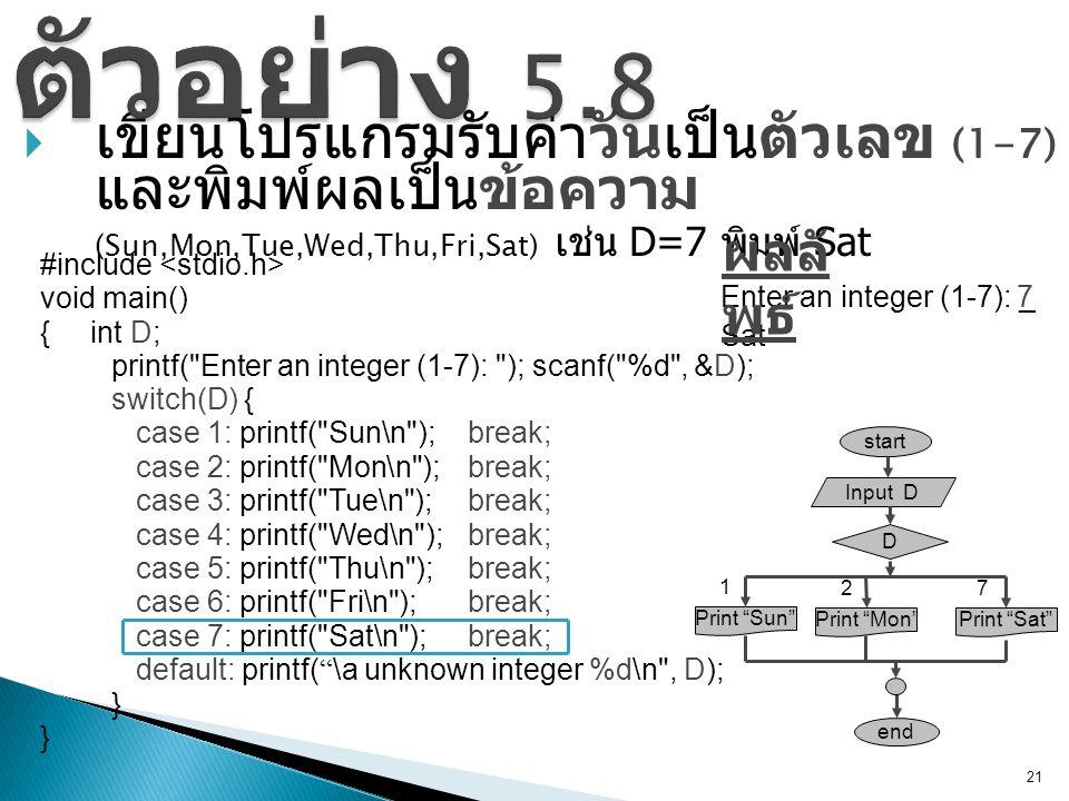  เขียนโปรแกรมรับค่าวันเป็นตัวเลข (1-7) และพิมพ์ผลเป็นข้อความ (Sun,Mon,Tue,Wed,Thu,Fri,Sat) เช่น D=7 พิมพ์ Sat 21 start Input D D end Print Mon 2 Print Sat 7 Print Sun 1 #include void main() { int D; printf( Enter an integer (1-7): ); scanf( %d , &D); Enter an integer (1-7): _7 Sat ผลลั พธ์ switch(D) { case 1: printf( Sun\n ); break; case 2: printf( Mon\n ); break; case 3: printf( Tue\n ); break; case 4: printf( Wed\n ); break; case 5: printf( Thu\n ); break; case 6: printf( Fri\n ); break; case 7: printf( Sat\n ); break; default: printf( \a unknown integer %d\n , D); } }
