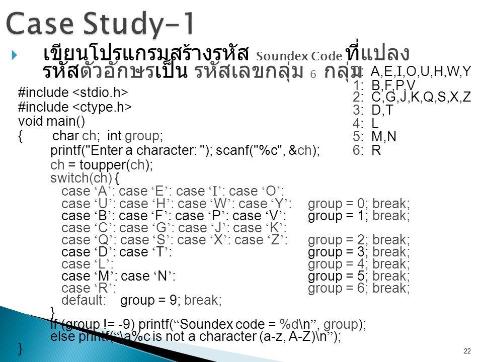  เขียนโปรแกรมสร้างรหัส Soundex Code ที่แปลง รหัสตัวอักษรเป็น รหัสเลขกลุ่ม 6 กลุ่ม 22 #include void main() { char ch; int group; printf( Enter a character: ); scanf( %c , &ch); ch = toupper(ch); switch(ch) { case ' A ' : case ' E ' : case ' I ' : case ' O ' : case ' U ' : case ' H ' : case ' W ' : case ' Y ' : group = 0; break; case ' B ' : case ' F ' : case ' P ' : case ' V ' : group = 1; break; case ' C ' : case ' G ' : case ' J ' : case ' K ' : case ' Q ' : case ' S ' : case ' X ' : case ' Z ' : group = 2; break; case ' D ' : case ' T ' : group = 3; break; case ' L ' : group = 4; break; case ' M ' : case ' N ' : group = 5; break; case ' R ' : group = 6; break; default: group = 9; break; } if (group != -9) printf( Soundex code = %d\n , group); else printf( \a%c is not a character (a-z, A-Z)\n ); } 0: A,E, I,O,U,H,W,Y 1: B,F,P,V 2: C,G,J,K,Q,S,X,Z 3: D,T 4: L 5: M,N 6: R