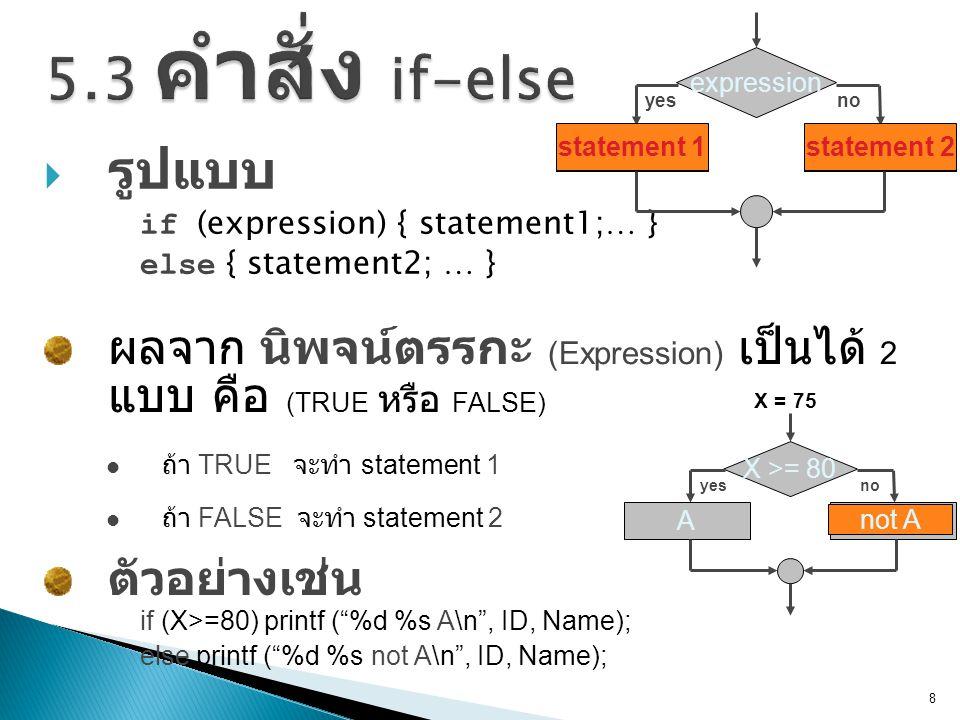  รูปแบบ if (expression) { statement1; … } else { statement2; … } 8 ผลจาก นิพจน์ตรรกะ (Expression) เป็นได้ 2 แบบ คือ (TRUE หรือ FALSE)  ถ้า TRUE จะทำ statement 1 ตัวอย่างเช่น  ถ้า FALSE จะทำ statement 2 expression noyes statement 1statement 2 statement 1statement 2 X >= 80 noyes Anot A if (X>=80) printf ( %d %s A\n , ID, Name); else printf ( %d %s not A\n , ID, Name); X = 75 not A