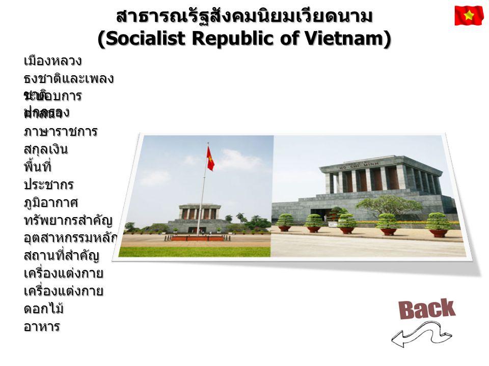 สาธารณรัฐประชาธิปไตยประชาชนลาว (Lao People's Democratic Republic) เมืองหลวง ธงชาติและเพลง ชาติ ระบอบการ ปกครอง ศาสนา ภาษาราชการ สกุลเงิน พื้นที่ ประชากร ภูมิอากาศ ทรัพยากรสำคัญ อุตสาหกรรมหลัก สถานที่สำคัญ เครื่องแต่งกาย เครื่องแต่งกาย ดอกไม้ อาหาร