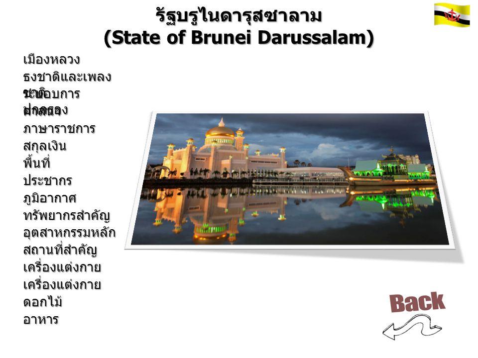 รัฐบรูไนดารุสซาลาม (State of Brunei Darussalam) เมืองหลวง ธงชาติและเพลง ชาติ ระบอบการ ปกครอง ศาสนา ภาษาราชการ สกุลเงิน พื้นที่ ประชากร ภูมิอากาศ ทรัพยากรสำคัญ อุตสาหกรรมหลัก สถานที่สำคัญ เครื่องแต่งกาย เครื่องแต่งกาย ดอกไม้ อาหาร