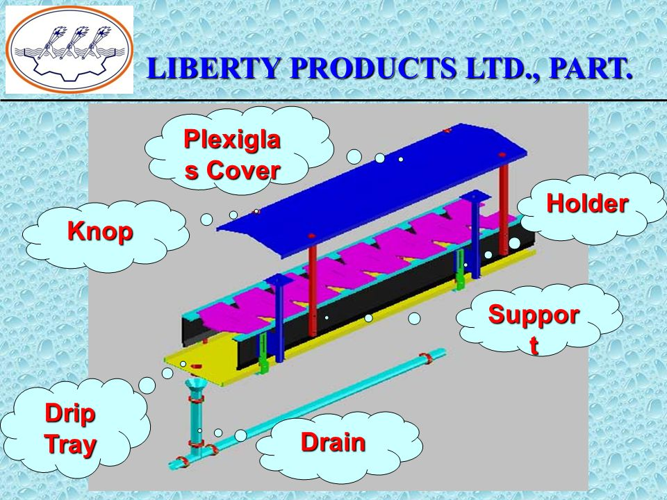 LIBERTY PRODUCTS LTD., PART. Plexigla s Cover Holder Suppor t Drain Drip Tray Knop