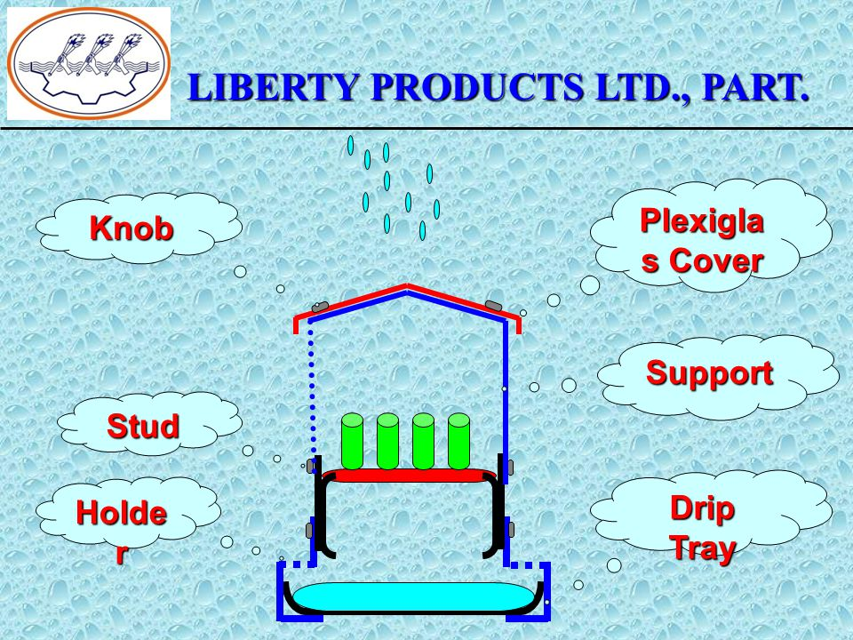 LIBERTY PRODUCTS LTD., PART. Plexigla s Cover Knob Drip Tray Holde r Support Stud