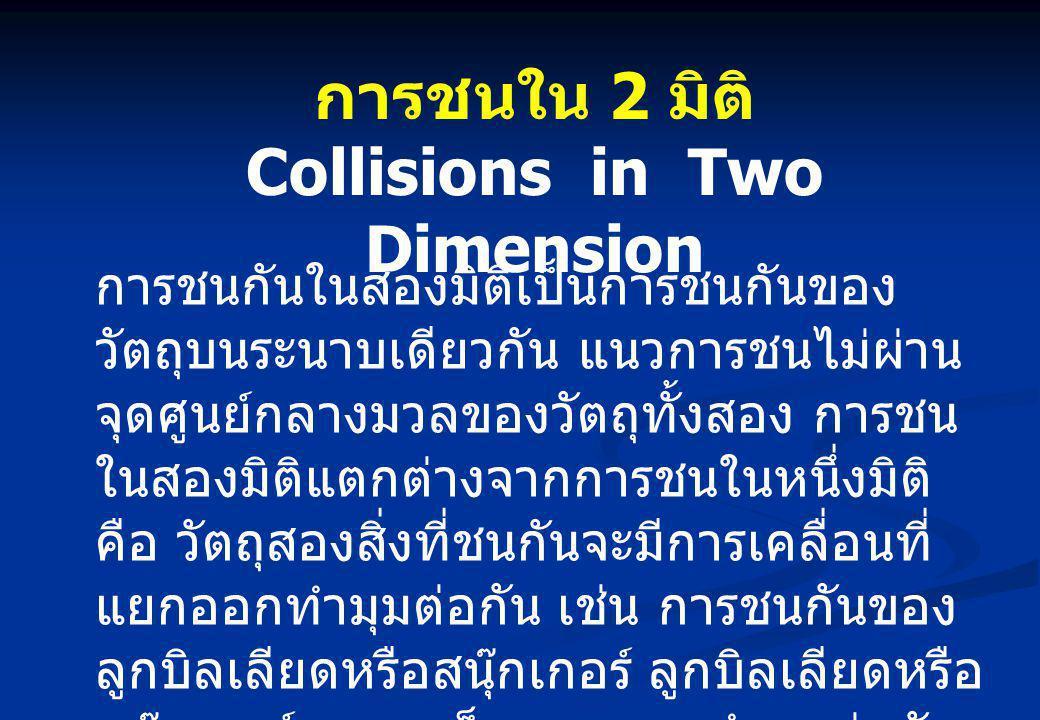 การชนใน 2 มิติ Collisions in Two Dimension การชนกันในสองมิติเป็นการชนกันของ วัตถุบนระนาบเดียวกัน แนวการชนไม่ผ่าน จุดศูนย์กลางมวลของวัตถุทั้งสอง การชน ในสองมิติแตกต่างจากการชนในหนึ่งมิติ คือ วัตถุสองสิ่งที่ชนกันจะมีการเคลื่อนที่ แยกออกทำมุมต่อกัน เช่น การชนกันของ ลูกบิลเลียดหรือสนุ๊กเกอร์ ลูกบิลเลียดหรือ สนุ๊กเกอร์จะกระเด็นแยกออกทำมุมต่อกัน
