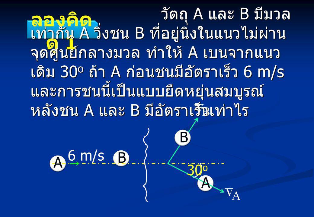 ลองคิด ดู 1 วัตถุ A และ B มีมวล เท่ากัน A วิ่งชน B ที่อยู่นิ่งในแนวไม่ผ่าน จุดศูนย์กลางมวล ทำให้ A เบนจากแนว เดิม 30 o ถ้า A ก่อนชนมีอัตราเร็ว 6 m/s และการชนนี้เป็นแบบยืดหยุ่นสมบูรณ์ หลังชน A และ B มีอัตราเร็วเท่าไร วัตถุ A และ B มีมวล เท่ากัน A วิ่งชน B ที่อยู่นิ่งในแนวไม่ผ่าน จุดศูนย์กลางมวล ทำให้ A เบนจากแนว เดิม 30 o ถ้า A ก่อนชนมีอัตราเร็ว 6 m/s และการชนนี้เป็นแบบยืดหยุ่นสมบูรณ์ หลังชน A และ B มีอัตราเร็วเท่าไร A B A B 6 m/s 30 o