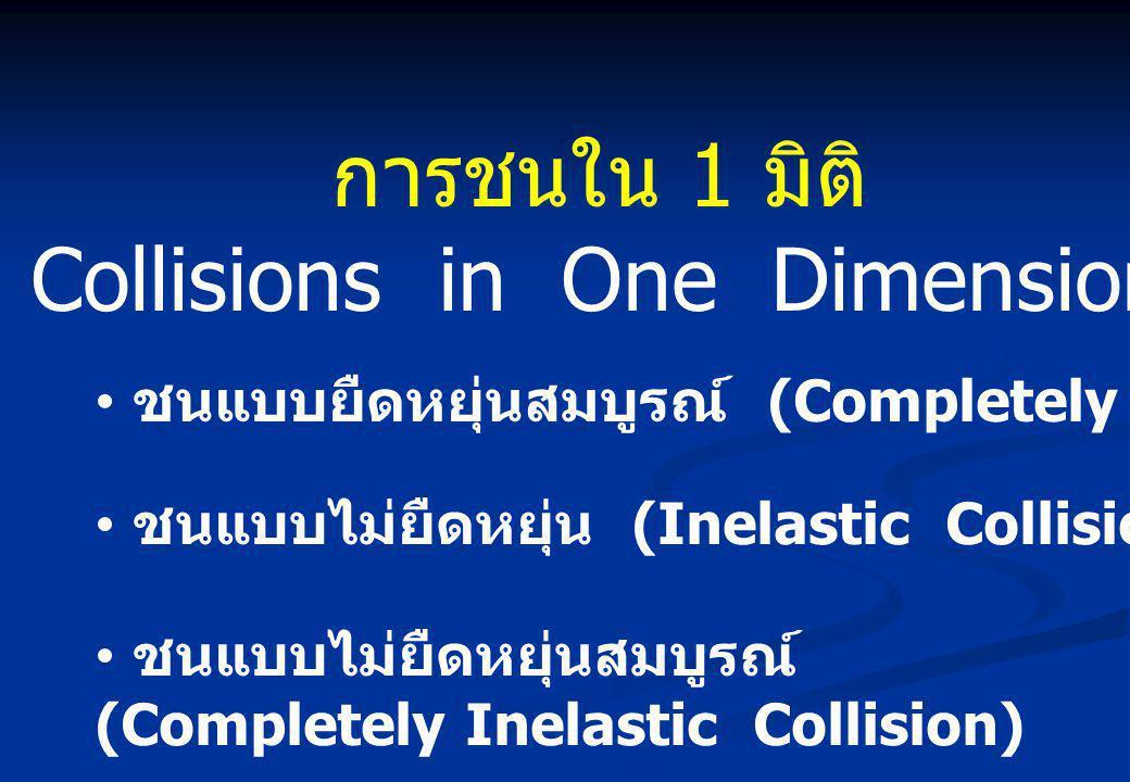 การชนใน 1 มิติ Collisions in One Dimension • ชนแบบยืดหยุ่นสมบูรณ์ (Completely Elastic Collision) • ชนแบบไม่ยืดหยุ่น (Inelastic Collision) • ชนแบบไม่ยืดหยุ่นสมบูรณ์ (Completely Inelastic Collision)