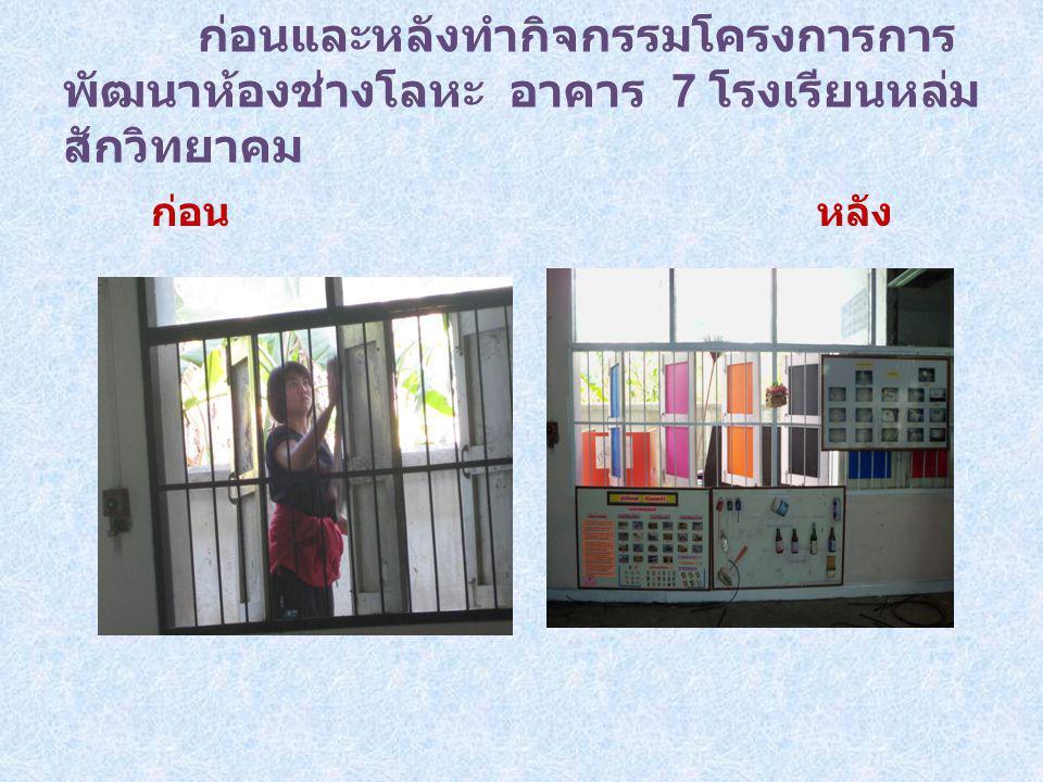 ก่อนและหลังทำกิจกรรมโครงการการ พัฒนาห้องช่างโลหะ อาคาร 7 โรงเรียนหล่ม สักวิทยาคม ก่อน หลัง