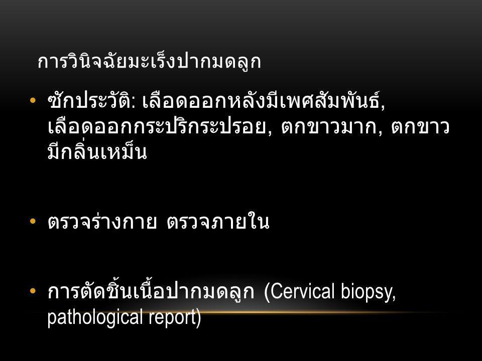 การวินิจฉัยมะเร็งปากมดลูก • ซักประวัติ : เลือดออกหลังมีเพศสัมพันธ์, เลือดออกกระปริกระปรอย, ตกขาวมาก, ตกขาว มีกลิ่นเหม็น • ตรวจร่างกาย ตรวจภายใน • การตัดชิ้นเนื้อปากมดลูก (Cervical biopsy, pathological report)