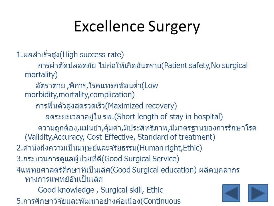 Excellence Surgery 1. ผลสำเร็จสูง (High success rate) การผ่าตัดปลอดภัย ไม่ก่อให้เกิดอันตราย (Patient safety,No surgical mortality) อัตราตาย, พิการ, โร