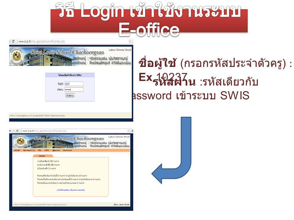 ชื่อผู้ใช้ ( กรอกรหัสประจำตัวครู ) : Ex.10237 รหัสผ่าน : รหัสเดียวกับ Password เข้าระบบ SWIS