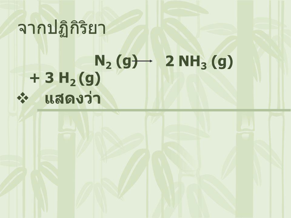 N 2 (g) + 3 H 2 (g) จากปฏิกิริยา  แสดงว่า 2 NH 3 (g)