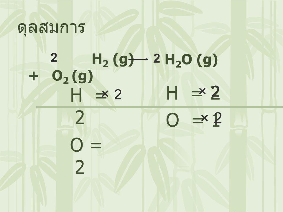 H 2 (g) + O 2 (g) ดุลสมการ H 2 O (g) H = 2 O = 2 H = 2 O = 1 × 2 2 × 2 × 2 2